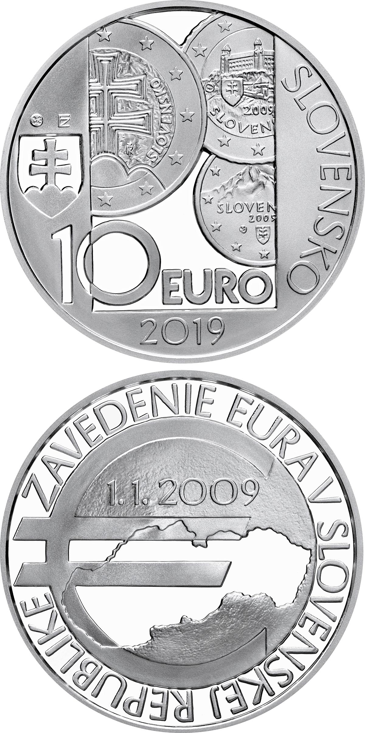 Image of 10 euro coin - 10th anniversary of the introduction of the euro in Slovakia | Slovakia 2019.  The Silver coin is of Proof, BU quality.