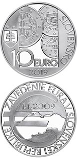 10 euro coin 10th anniversary of the introduction of the euro in Slovakia | Slovakia 2019