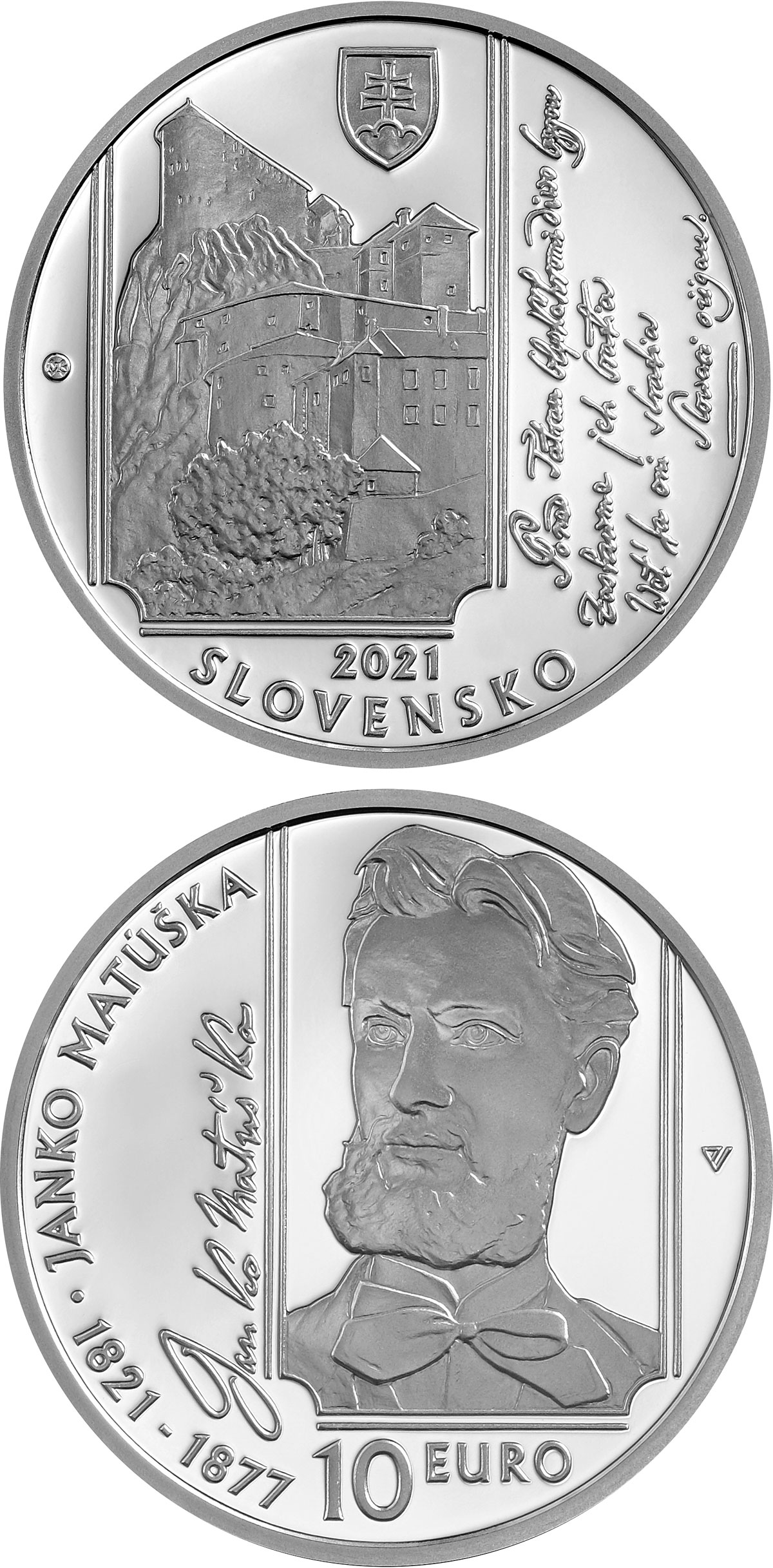 Image of 10 euro coin - 100th Anniversary of the Birth of Janko Matúška | Slovakia 2021.  The Silver coin is of Proof, BU quality.