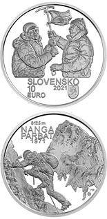 10 euro coin 50th anniversary of the first successful ascent of an eight-thousander (Nanga Parbat) by Slovak climbers | Slovakia 2021