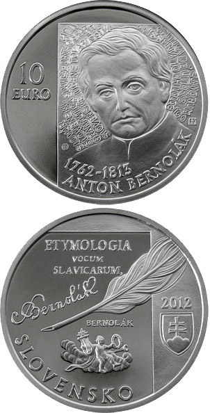 Image of 10 euro coin - Anton Bernolák - the 250th anniversary of the birth  | Slovakia 2012.  The Silver coin is of Proof, BU quality.