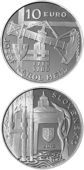 Image of 10 euro coin - Jozef Karol Hell - the 300th anniversary of the birth  | Slovakia 2013.  The Silver coin is of Proof, BU quality.