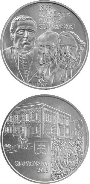 Image of 10 euro coin – Matica slovenská Cultural Association  - the 150th anniversary of the founding  | Slovakia 2013.  The Silver coin is of Proof, BU quality.