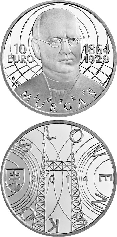 Image of 10 euro coin – Jozef Murgaš - the 150th anniversary of the birth  | Slovakia 2014.  The Silver coin is of Proof, BU quality.