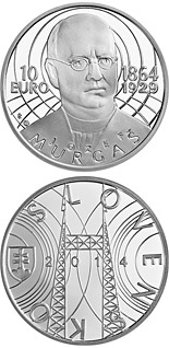 10 euro coin Jozef Murgaš - the 150th anniversary of the birth  | Slovakia 2014