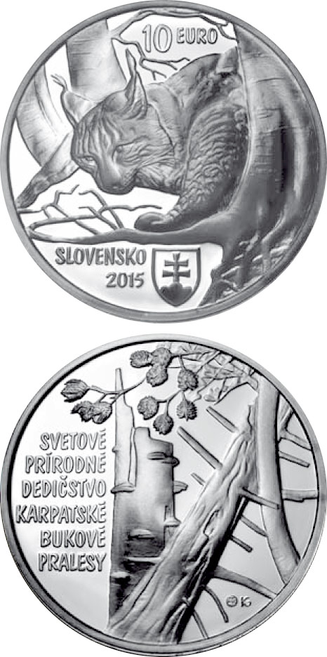 10 euro UNESCO World Heritage Primeval Beech Forests of the Carpathians - 2015 - Series: Silver 10 euro coins - Slovakia