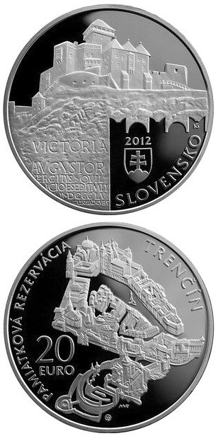 Image of 20 euro coin Conservation Area of the Trenčín Town  | Slovakia 2012.  The Silver coin is of Proof, BU quality.