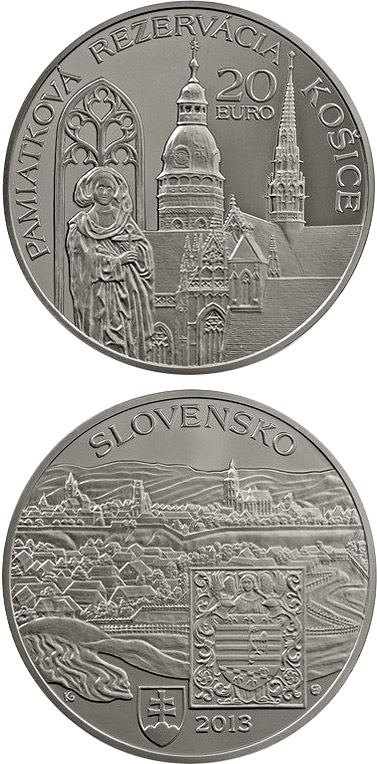 Image of Conservation Area of the Košice Town Košice - the European Capital of Culture for 2013  – 20 euro coin Slovakia 2013.  The Silver coin is of Proof, BU quality.