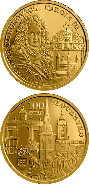 Image of a coin 100 euro | Slovakia | Coronations in Bratislava - the 300th anniversary of the coronation of Karol III  | 2012