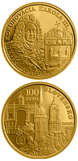 100 euro coin Coronations in Bratislava - the 300th anniversary of the coronation of Karol III  | Slovakia 2012