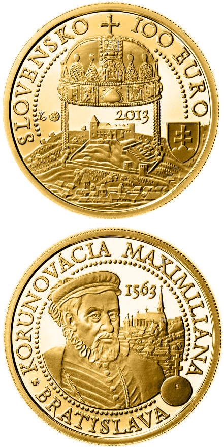 Image of 100 euro coin – Coronations in Bratislava - the 450th anniversary of the coronation of Maximilian II  | Slovakia 2013.  The Gold coin is of Proof quality.