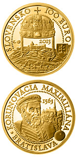 100 euro coin Coronations in Bratislava - the 450th anniversary of the coronation of Maximilian II  | Slovakia 2013