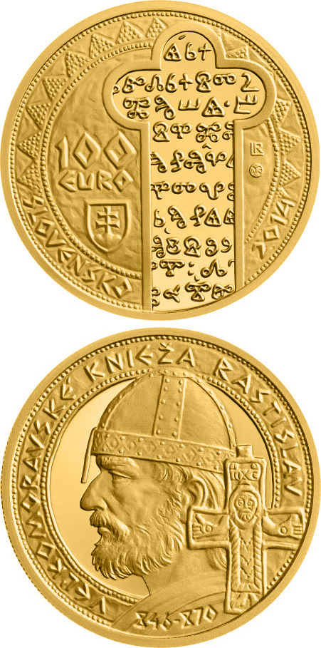 Image of 100 euro coin - Rastislav, Ruler of Great Moravia  | Slovakia 2014.  The Gold coin is of Proof quality.