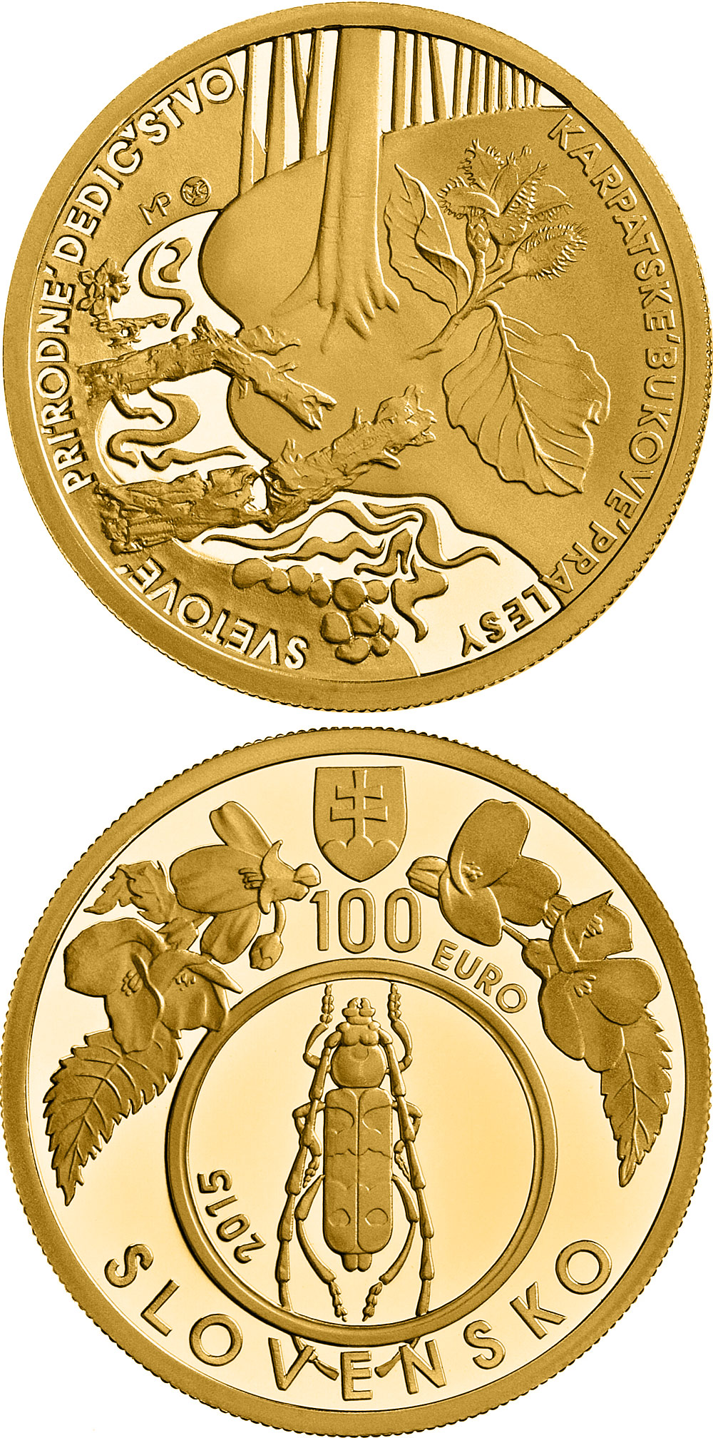 Image of 100 euro coin UNESCO World Heritage Primeval Beech Forests of the Carpathians | Slovakia 2015.  The Gold coin is of Proof quality.