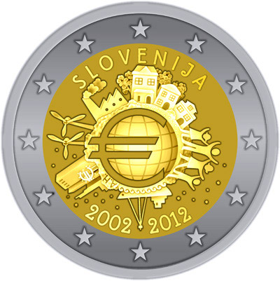 Image of a coin 2 euro | Slovenia | Ten years of Euro  | 2012