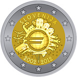 2 euro coin Ten years of Euro  | Slovenia 2012