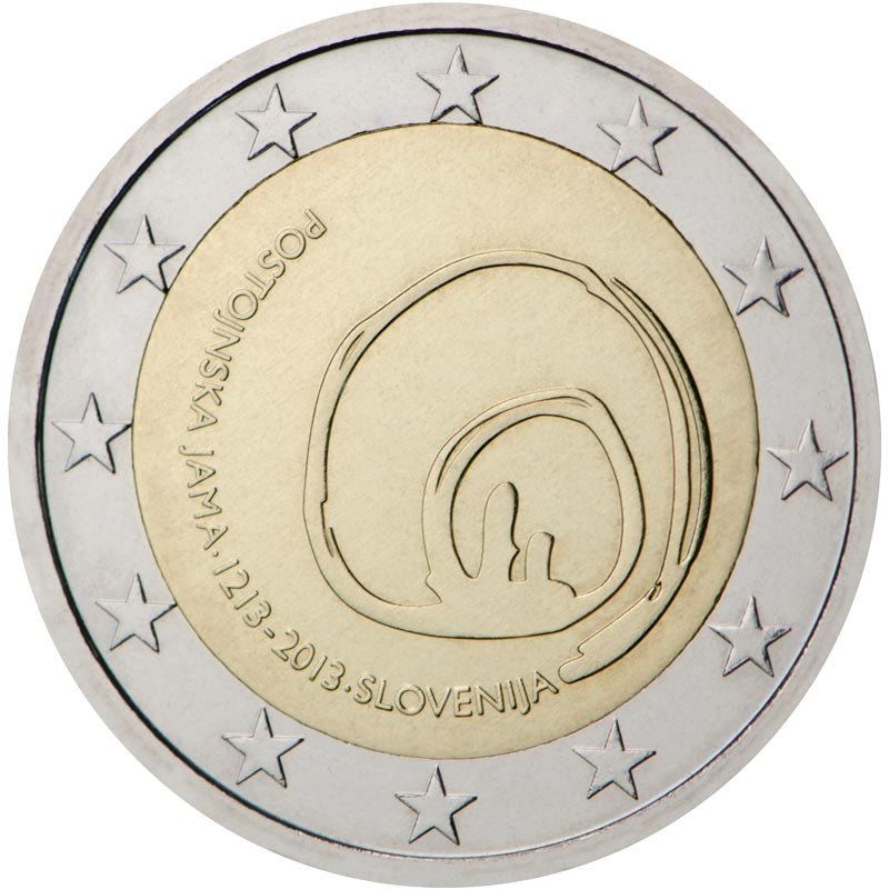 Image of 2 euro coin – 800th Anniversary of the First Visit of the Postojna Cave | Slovenia 2013