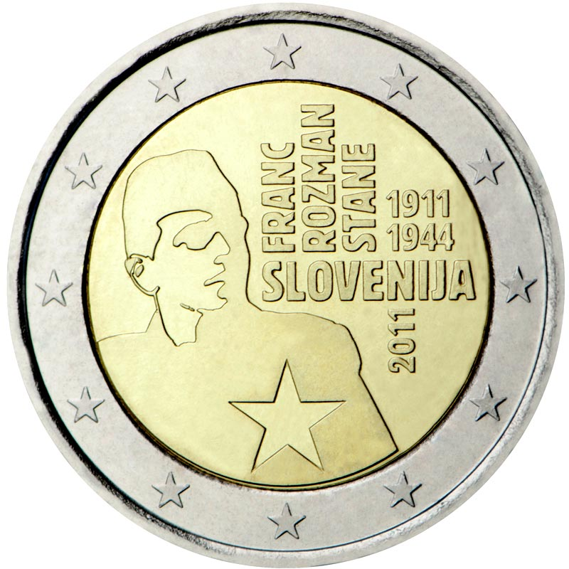 Image of 2 euro coin 100th anniversary of the birth of Franc Rozman | Slovenia 2011