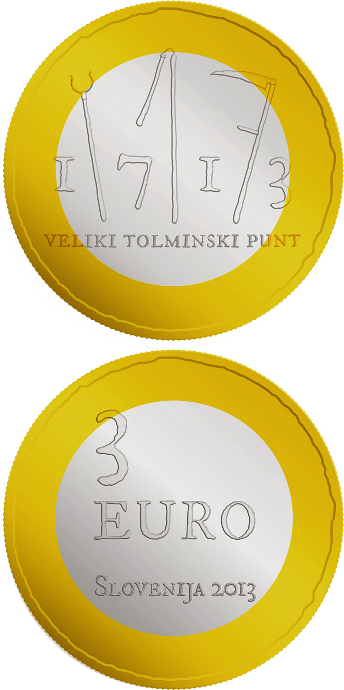 Image of a coin 3 euro | Slovenia | 300th anniversary of the great Tolmin Peasant Uprising | 2013