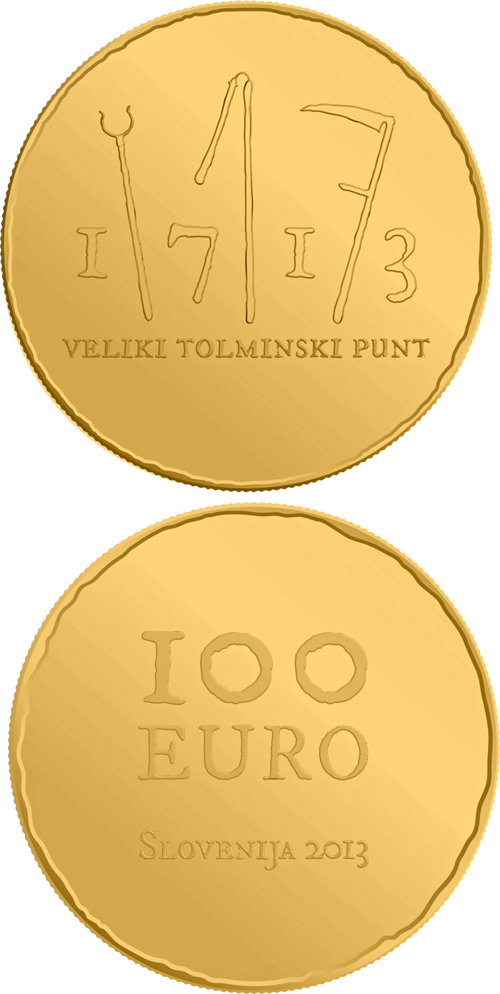 Image of 100 euro coin - 300th anniversary of the great Tolmin Peasant Uprising | Slovenia 2013.  The Gold coin is of Proof quality.