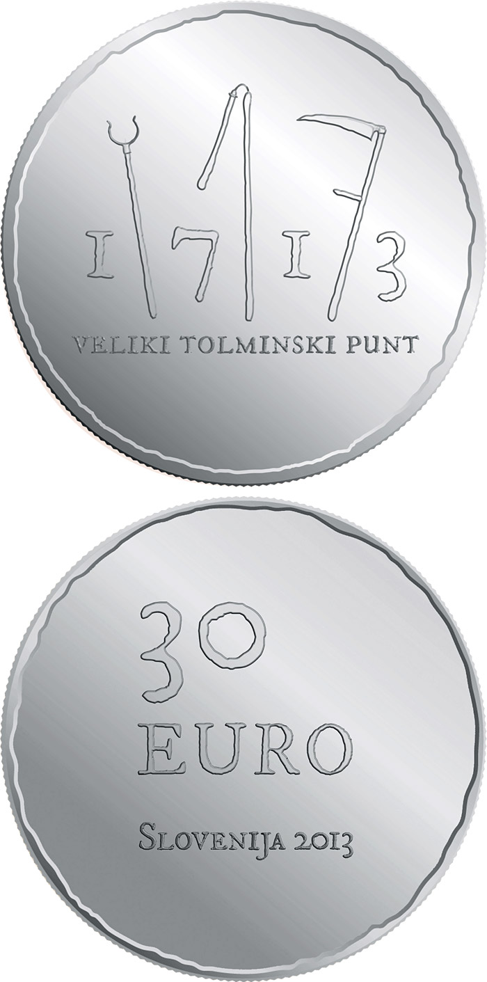 Image of 30 euro coin – 300th anniversary of the great Tolmin Peasant Uprising | Slovenia 2013.  The Silver coin is of Proof quality.