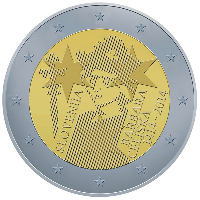 Image of 2 euro coin – 600th Anniversary of the Coronation of Barbara of Cilli | Slovenia 2014