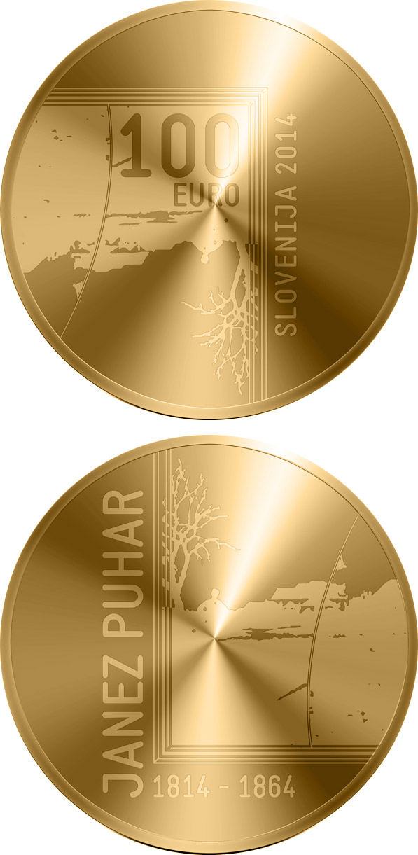 Image of 100 euro coin - 200th Anniversary of the Birth of the Photographer Janez Puhar | Slovenia 2014.  The Gold coin is of Proof quality.