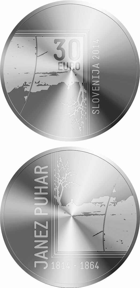 Image of 30 euro coin - 200th Anniversary of the Birth of the Photographer Janez Puhar | Slovenia 2014.  The Silver coin is of Proof quality.