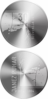 30 euro 200th Anniversary of the Birth of the Photographer Janez Puhar - 2014 - Series: Silver 30 euro coins - Slovenia