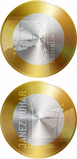 3 euro 200th Anniversary of the Birth of the Photographer Janez Puhar - 2014 - Series: Bimetal 3 euro coins - Slovenia