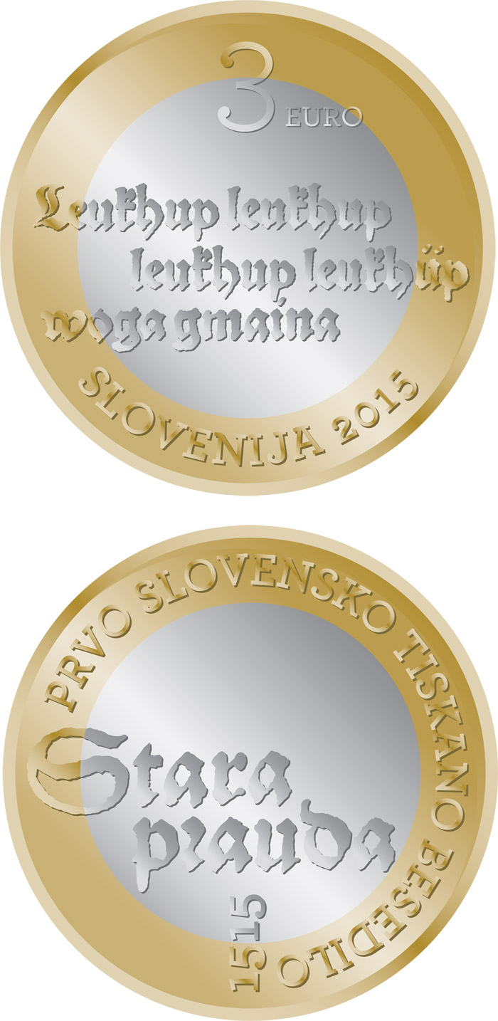 Image of 3 euro coin - 500th anniversary of the first Slovenian printed text | Slovenia 2015.  The Bimetal: CuNi, nordic gold coin is of UNC quality.