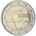 2 euro 25th Anniversary of the Independence of the Republic of Slovenia - 2016 - Series: Commemorative 2 euro coins - Slovenia