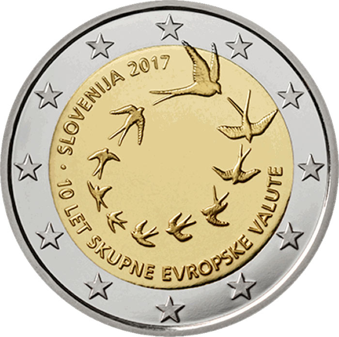 Image of 2 euro coin - 10th anniversary of the introduction of the euro in Slovenia | Slovenia 2017