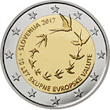 2 euro coin 10th anniversary of the introduction of the euro in Slovenia | Slovenia 2017