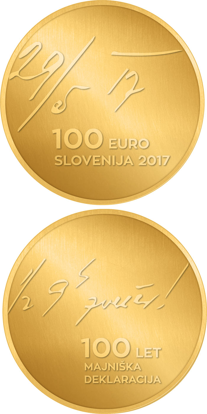 Image of 100 euro coin - 100th anniversary of the May Declaration | Slovenia 2017.  The Gold coin is of Proof quality.