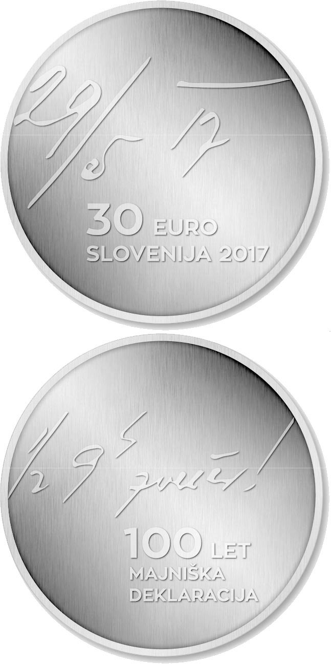 Image of 30 euro coin 100th anniversary of the May Declaration | Slovenia 2017.  The Silver coin is of Proof quality.