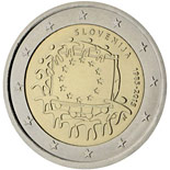 2 euro coin The 30th anniversary of the EU flag | Slovenia 2015