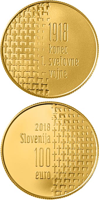 Image of 100 euro coin - 100th Anniversary of the End of the First World War | Slovenia 2018.  The Gold coin is of Proof quality.