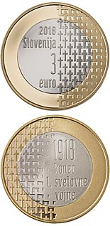3 euro | Slovenia | 100th Anniversary of the End of the First World War | 2018