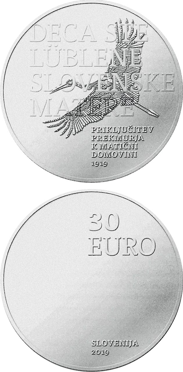 Image of 30 euro coin - 100th anniversary of joining Prekmurje region with its motherland | Slovenia 2019.  The Silver coin is of Proof quality.