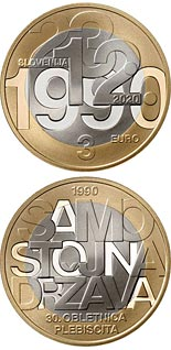 3 euro coin 30th anniversary of plebiscite on sovereignty and independence of the Republic of Slovenia | Slovenia 2020