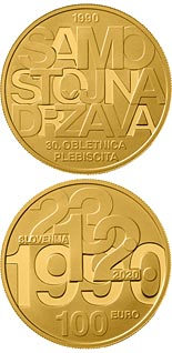 100 euro coin 30th anniversary of plebiscite on sovereignty and independence of the Republic of Slovenia | Slovenia 2020