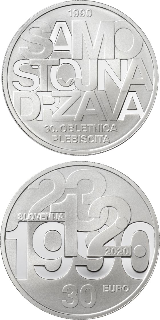 Image of 30 euro coin - 30th anniversary of plebiscite on sovereignty and independence of the Republic of Slovenia | Slovenia 2020.  The Silver coin is of Proof quality.
