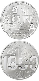 30 euro coin 30th anniversary of plebiscite on sovereignty and independence of the Republic of Slovenia | Slovenia 2020