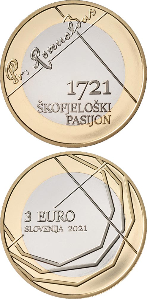 Image of 3 euro coin - 300th anniversary of Škofjeloški pasijon | Slovenia 2021.  The Bimetal: CuNi, nordic gold coin is of UNC quality.