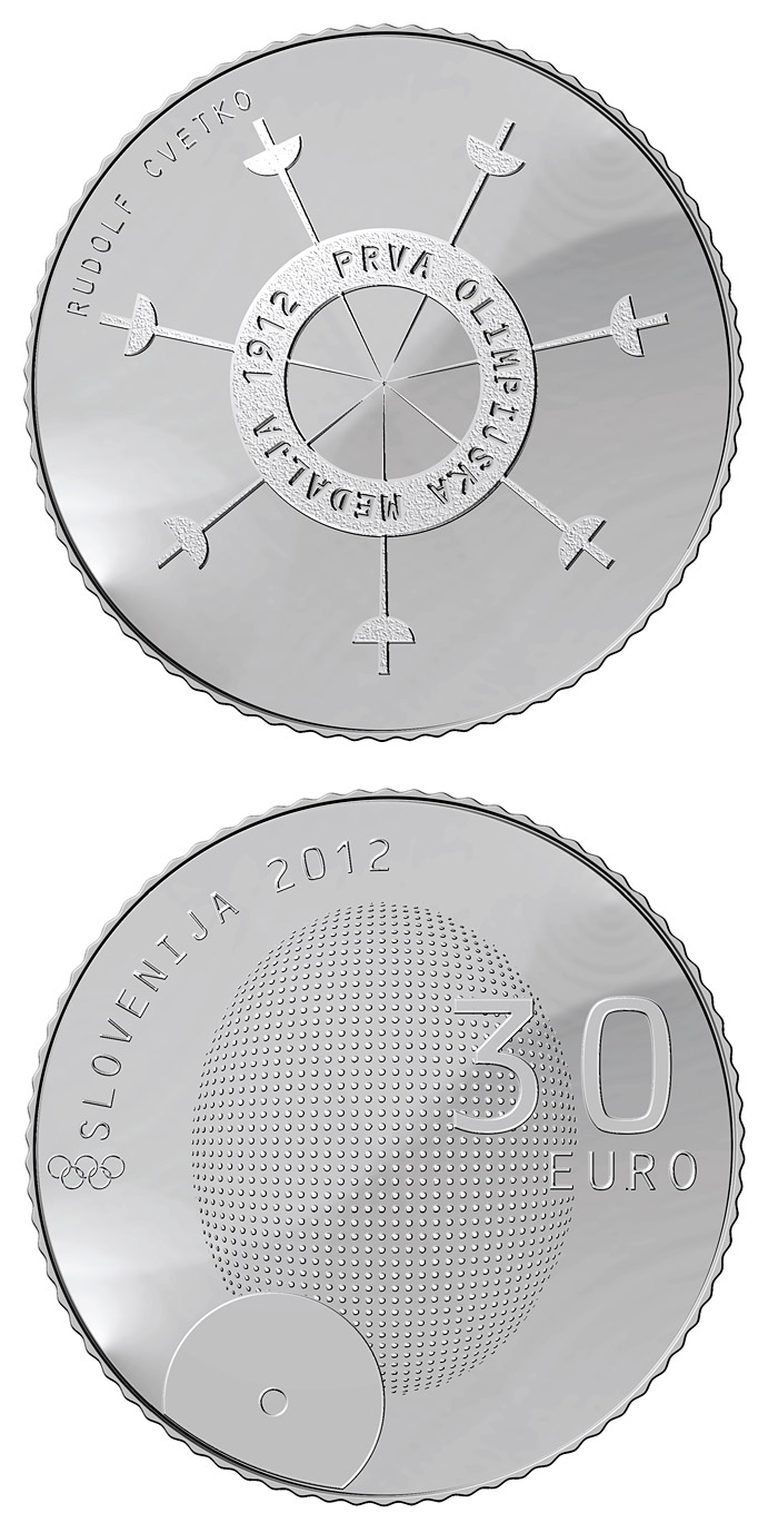 30 euro 100th anniversary of the first Slovene winner of the Olympic medal  - 2012 - Series: Silver 30 euro coins - Slovenia