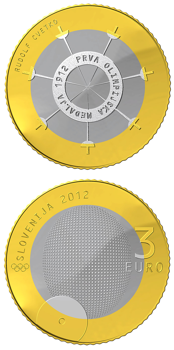 3 euro 100th anniversary of the first Slovene winner of the Olympic medal  - 2012 - Series: Bimetal 3 euro coins - Slovenia