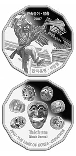 20000 won Traditional folk game series - Talchum (Mask Dance) - 2007 - Series: Silver won coins - South Korea