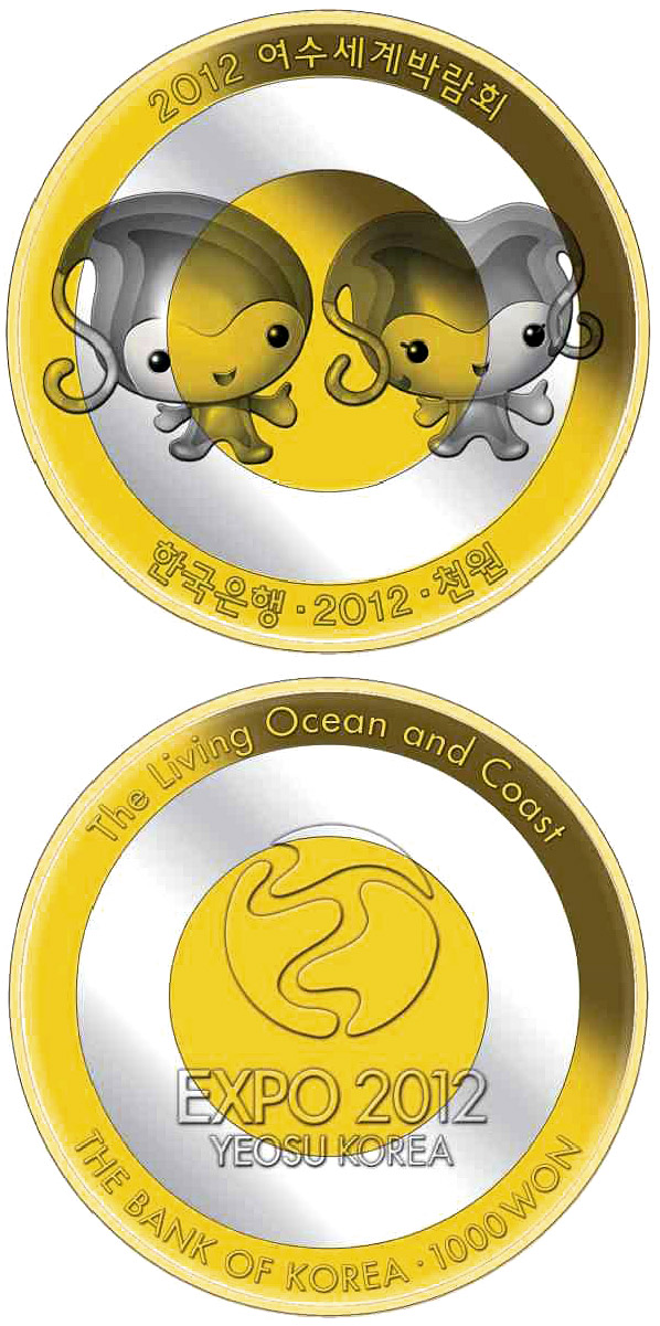 Image of 1000 won coin – Yeosu EXPO 2012 - Official mascots | South Korea 2012.  The Bimetal: CuNi, nordic gold coin is of UNC quality.