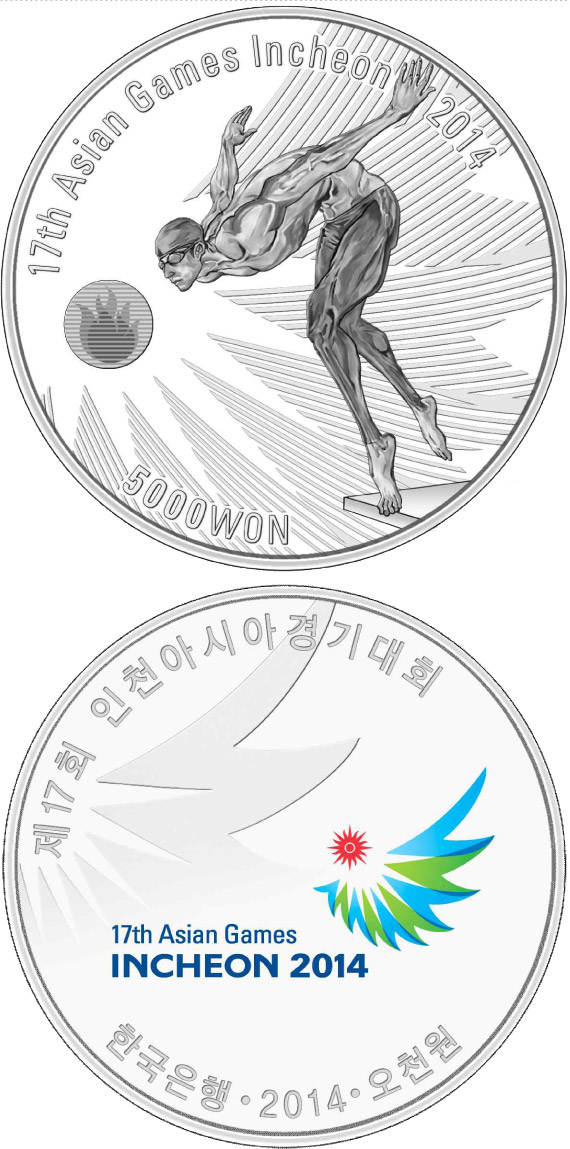 Image of 5000 won coin 17th Asian Games Incheon 2014: Swimming | South Korea 2014.  The Silver coin is of Proof quality.